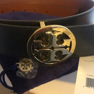 Tory Burch Reversible Belt - Blk & Luggage Small